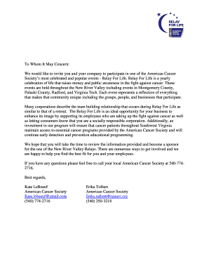 2011 New River Valley Corp Sponsorship W Letter   Relay For Life   Relay  Acsevents  Event Sponsorship Letter Sample