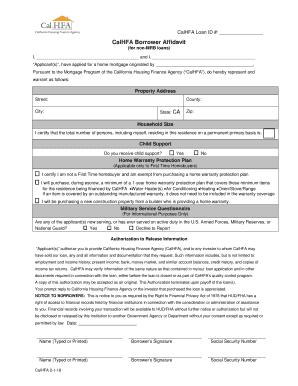 Fillable Online Calhfa Ca Borrower S Affidavit