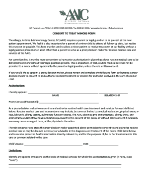 Consent to treat minors form - Allergy, Asthma & Immunology Center ... - aaicenter