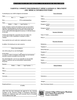 Medical Consent Form - Arizona College of Emergency Physicians