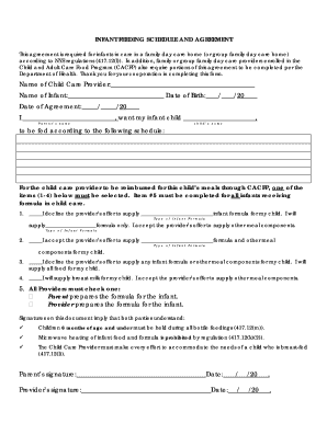 infant feeding schedule and agreement form
