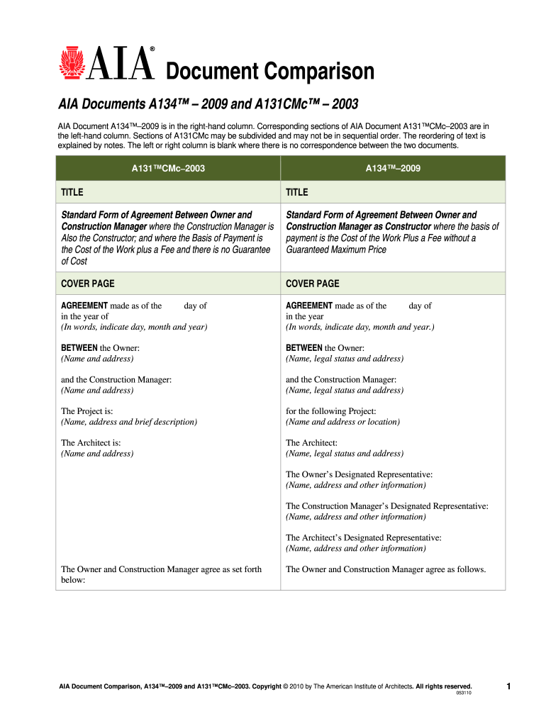 Aia A134 - Fill Online, Printable, Fillable, Blank | PDFfiller
