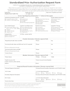 Fillable Online nhp Standardized Prior Authorization Request Form ...