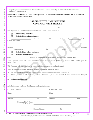 Agreement to Amend/Extend Contract with Broker. Colorado Real Estate Commission-approved form