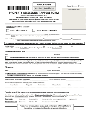 Instructions for Group Appeal Form - St. Louis County