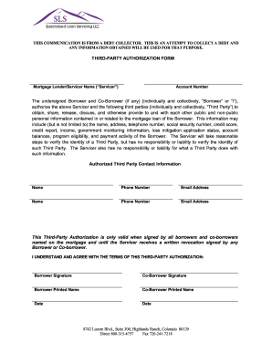 Sls Third Party Authorization Form Fill Online Printable