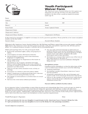 Relay For Life Youth Waiver 2015 - Fill Online, Printable ...