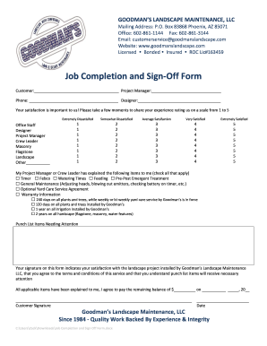 Job Is Comolete Sign Iff Sheet - Fill Online, Printable, Fillable ...
