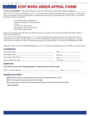 Dcra Stop Work Order Form