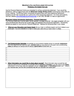 scholarship application template word