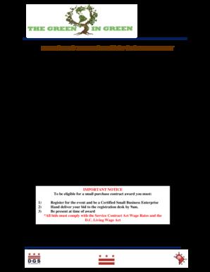 Fillable Online Dgs Dc Small Construction Services Bid Form Dgs