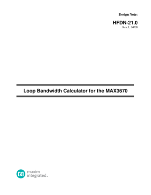 HFDN-21.0 Loop Bandwidth Calculator for the MAX3670 - Maxim