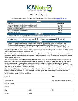 ICANotes Service Agreement