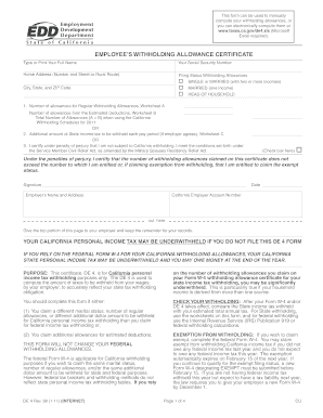 Fillable Online web peralta State DE-4 Form Fax Email Print ...