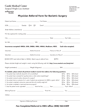 Fillable Online Physician Referral Form for Bariatric Surgery Fax ...