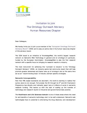 Fillable Advisory Board Invitation Letter Non Profit Edit Online