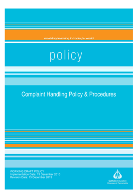 Complaint Handling Policy amp Procedures - Catherine McAuley - home mcauley nsw edu
