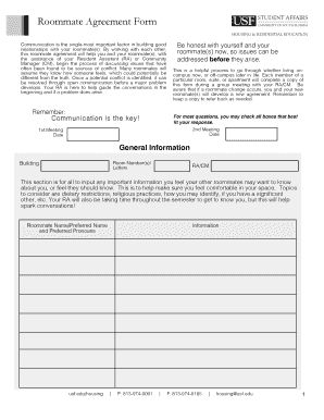 Roommate Agreement Form - Housing & Residential Education - housing usf