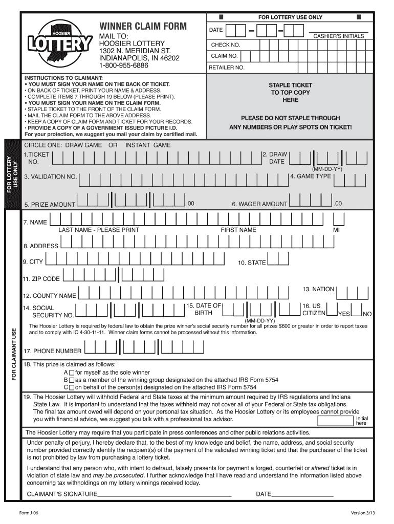 Hoosier Lottery Claim Form Fill Online Printable Fillable Blank Pdffiller Pdffiller