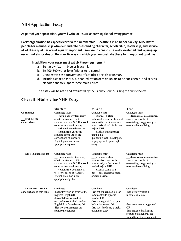 NHS Application Essay Fill Online Printable Fillable Blank