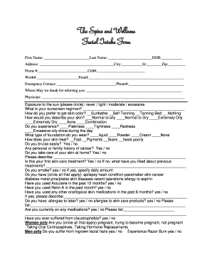 Facial Intake Form - Fill Online, Printable, Fillable, Blank ...