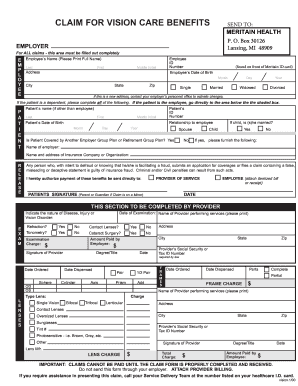 Fillable Online Meritain vision claim form - City of ...