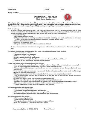 Fillable Online sgvcbsa Personal Fitness Merit Badge Worksheet ...
