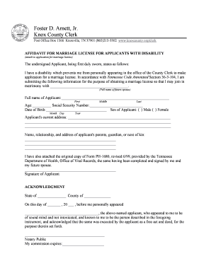 Sample AFFIDAVIT FOR MARRIAGE LICENSEAPPLICANT WITH DISABILITY - knoxcounty