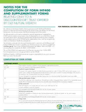 Notes for the completion of form IHT400 and supplementary forms