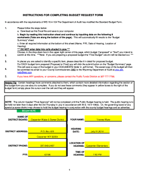 INSTRUCTIONS FOR COMPLETING BUDGET REQUEST FORM
