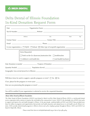 Fillable Online Delta Dental of Illinois Foundation In-Kind