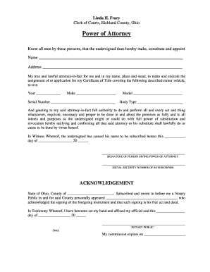 Bill Of Sale Form Ohio Power Of Attorney For Vehicle Registration ...