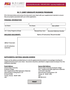 Supplemental document cover sheet - W P Carey School of Business - wpcarey asu