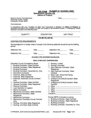 bid form sample