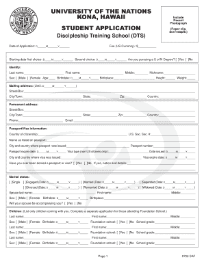 Fillable Online old uofnkona DTS Student Application Form