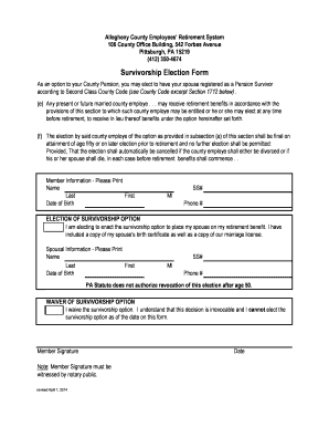 allegheny county survivorshio retirement form
