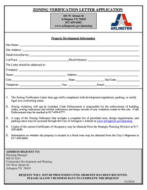 Fillable Online Arlingtontx Zoning Verification Letter Application