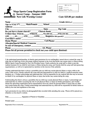 Soccer Camp Registration Form Template  Paper Registration Form Template