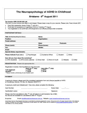 Fillable Online psychology org Adhd 2011 reg bne pdf