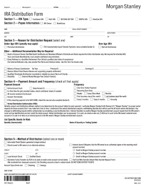 Fillable Online Ira Distribution Form Morgan Stanley Fax