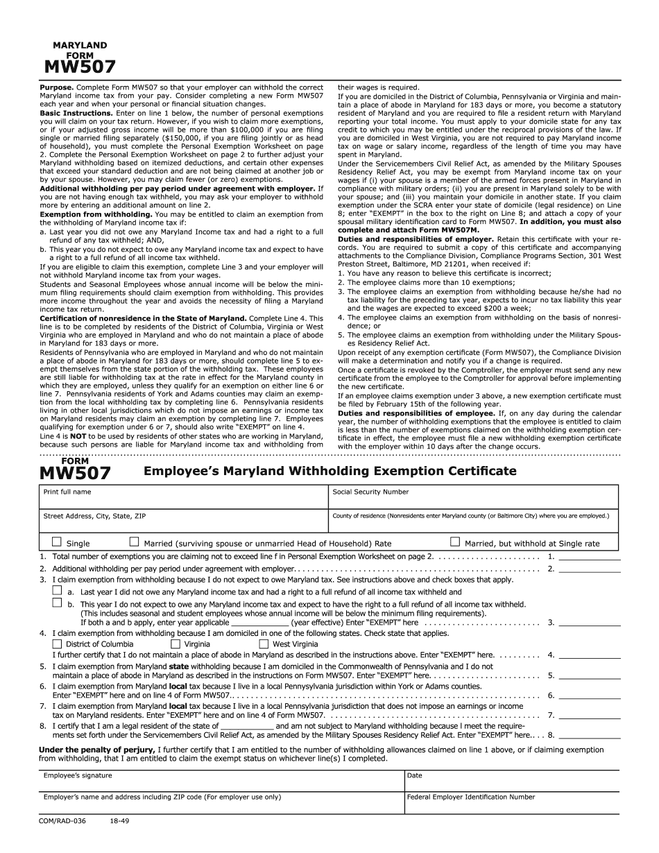 MW507 Maryland Withholding Form