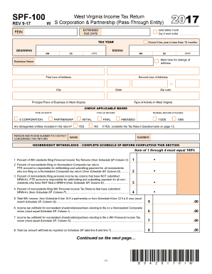 2017-2019 Form WV DoR SPF-100 Fill Online, Printable