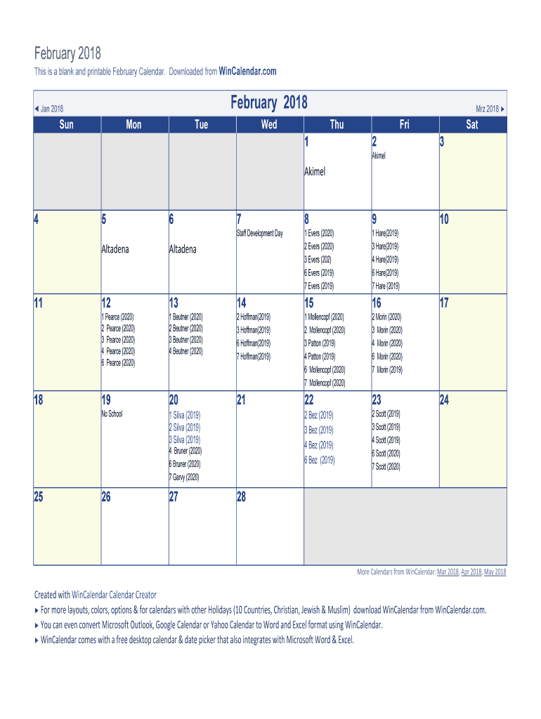 2020 February Calendarfillable This is a blank and printable February Calendar Fill Online