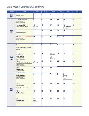 fill in weekly calendar
