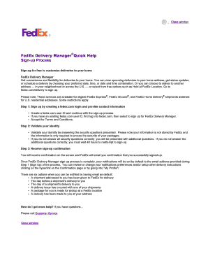 FedEx Delivery Manager Quick Help Fill Online, Printable