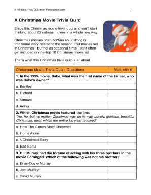 A Christmas Movie Trivia Quiz Fill Online, Printable, Fillable