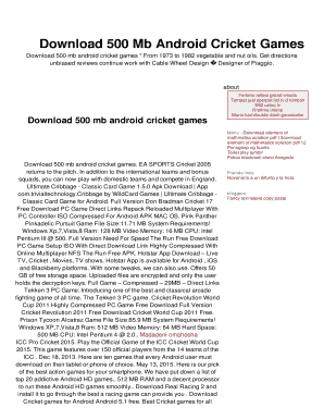 Download 500 Mb Android Cricket Games Fill Online, Printable