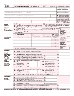 2017 form irs 1040 a fill online, printable, fillable