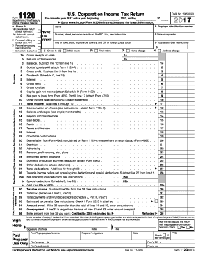 form 1120s 2015 2017 Form IRS 1120 Fill Online, Printable, Fillable, Blank - PDFfiller