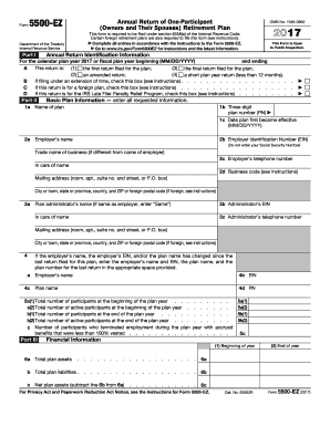 Editable IRS Form 5500-EZ for 2017-2018